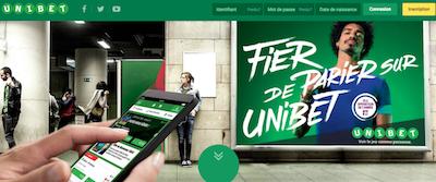 Pari Unibet homepage
