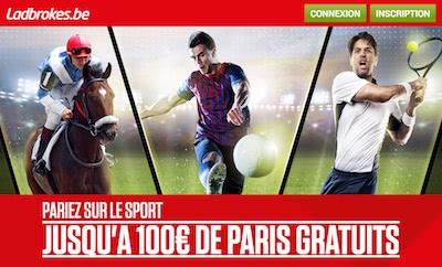 100 euros de bonus pour vos paris sportifs chez Ladbrokes