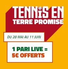 5 euros de bonus pour le tennis chez PMU