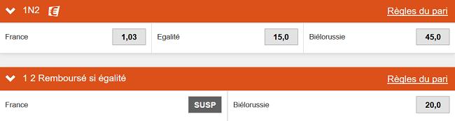 France - Bélarus vous apporte chez bookmaker PMU
