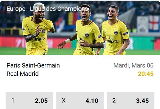 PSG contre Real Madrid en Ligue des Champions chez betFIRST