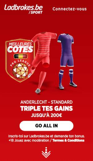 Anderlecht Standard avec les meilleures cotes Ladrbokes