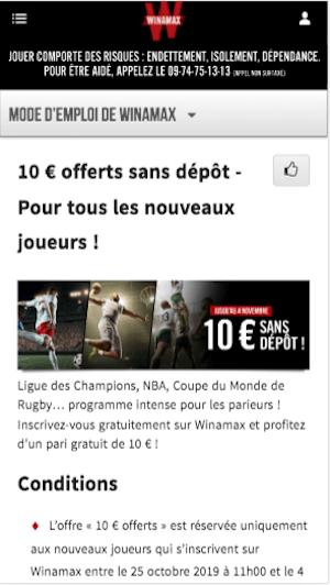 Winamax 10 euros gratuit