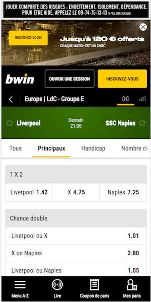 Paris sportifs Liverpool Naples