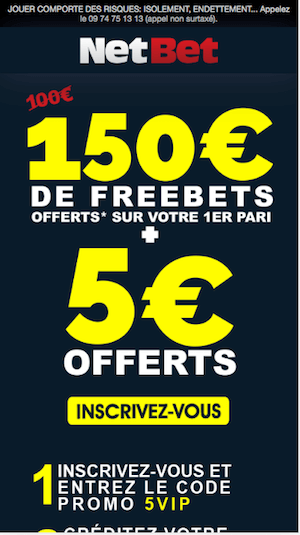 Netbet Code Promo inscription