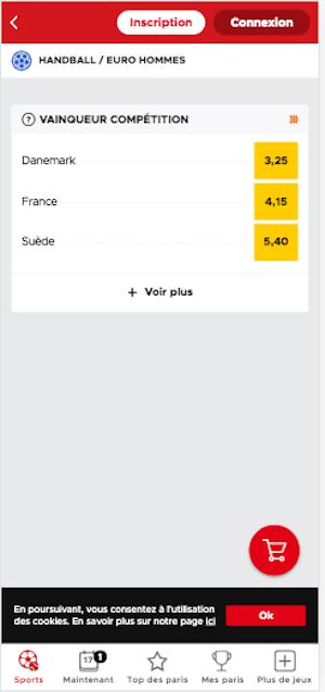 cotes betclic Handball euro 2020 favoris