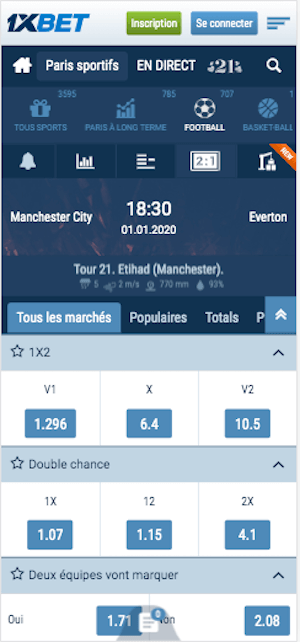 Cotes 1xbet Manchester City vs Everton
