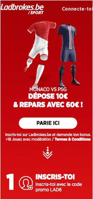 Monaco vs PSG cotes