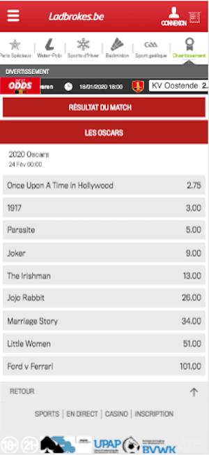 Paris sportifs Oscar 2020
