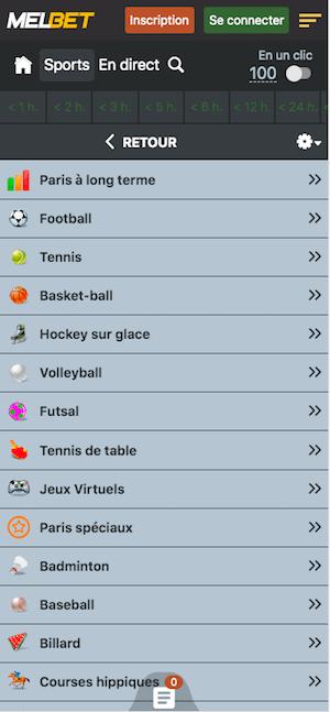 melbet menu app