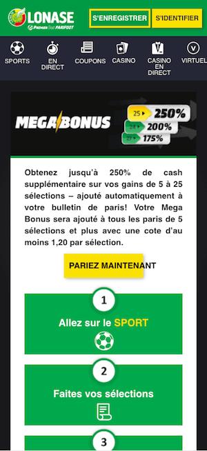 Mega bonus premier bet