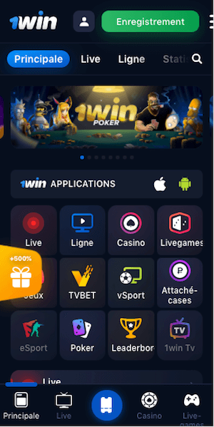 1win menu mobile