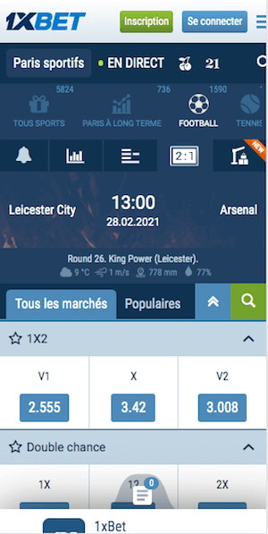 cotes leicester vs arsenal