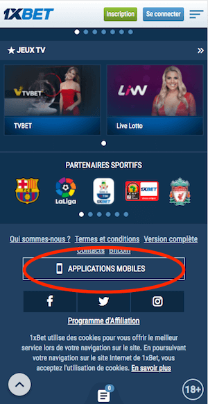 telecharger 1xbet apk android